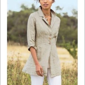 Soft Surroundings | 💯% Linen Eza Jacket Stone M